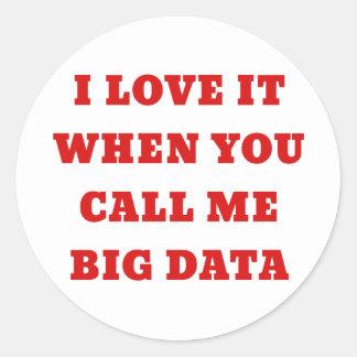 I Love it when you Call Me Big Data Classic Round Sticker