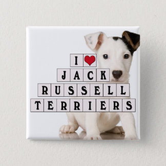 I LOVE JACK RUSSELL TERRIERS - BLOCKS 2 INCH SQUARE BUTTON