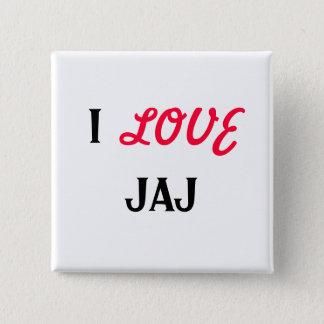 I, LOVE, JAJ 2 INCH SQUARE BUTTON