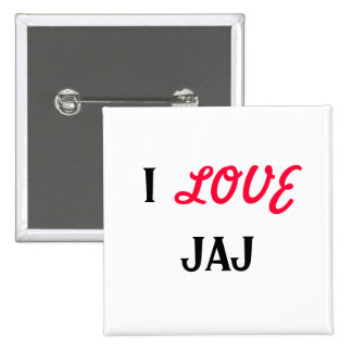 I, LOVE, JAJ 2 INCH SQUARE BUTTON