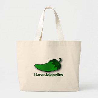 I Love Jalapenos Jumbo Tote Bag