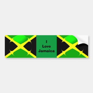 I Love Jamaica Bumper Sticker Jamaican Flag