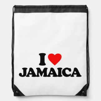 I LOVE JAMAICA DRAWSTRING BACKPACKS