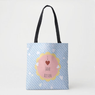 I Love Jane Austen Blue Pattern Tote Bag