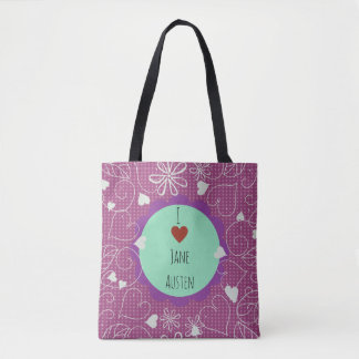 I Love Jane Austen dark pink pattern Tote Bag