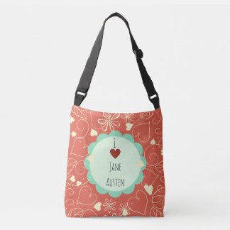 I Love Jane Austen Orange Pattern Crossbody Bag
