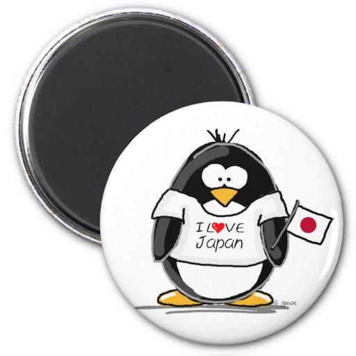 I Love Japan Penguin Fridge Magnet