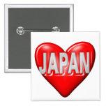 I Love Japan Pins