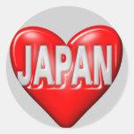 I Love Japan Round Stickers
