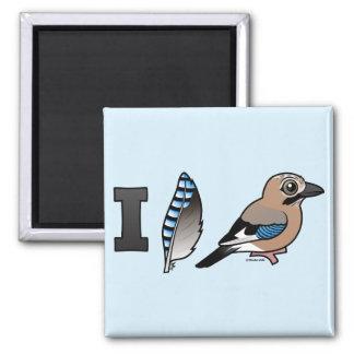 I Love Jays Square Magnet