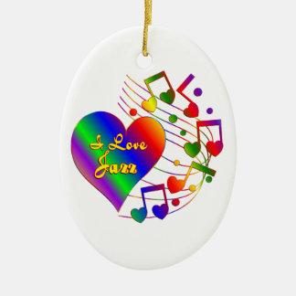 I Love Jazz Ceramic Ornament