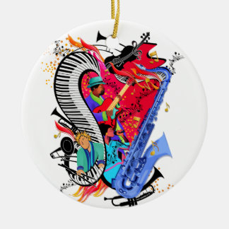 I Love Jazz Music Colorful Musicians Art Print Round Ceramic Ornament