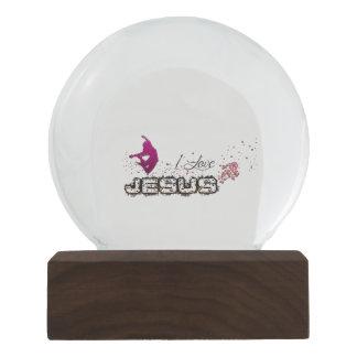 I love JESUS Jean 13:34-35 orange pink Snow Globe