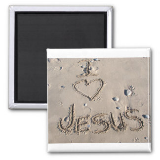 I love Jesus written in sand Magnet