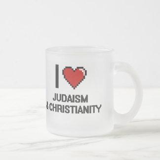 I Love Judaism & Christianity Digital Design 10 Oz Frosted Glass Coffee Mug