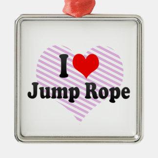 I love Jump Rope Silver-Colored Square Ornament