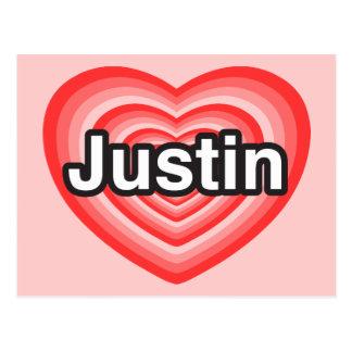 I love Justin. I love you Justin. Heart Postcard