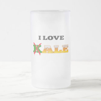 I Love Kale, Funny, Nerdy Beer Lover Gifts. Frosted Glass Beer Mug