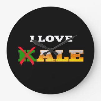 I Love Kale, Funny, Nerdy Beer Lover Gifts. Large Clock
