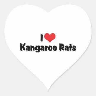 I Love Kangaroo Rats Heart Sticker