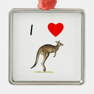 I Love Kangaroos (2) Silver-Colored Square Ornament