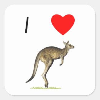 I Love Kangaroos (2) Square Sticker