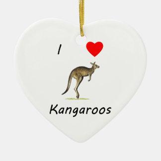 I Love Kangaroos Ceramic Heart Ornament