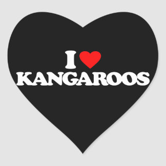 I LOVE KANGAROOS HEART STICKER