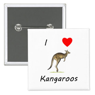 I Love Kangaroos Pinback Buttons