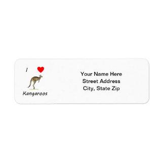 I Love Kangaroos Return Address Label