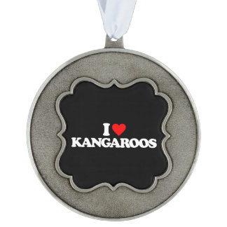 I LOVE KANGAROOS SCALLOPED PEWTER ORNAMENT