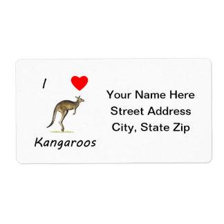 I Love Kangaroos Shipping Label