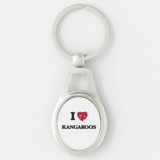 I Love Kangaroos Silver-Colored Oval Keychain