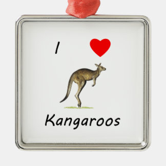 I Love Kangaroos Silver-Colored Square Ornament