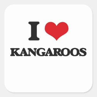I Love Kangaroos Square Sticker