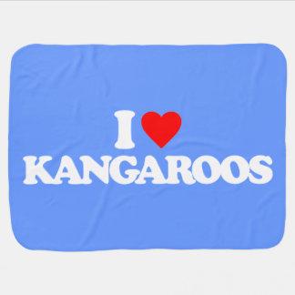 I LOVE KANGAROOS STROLLER BLANKETS
