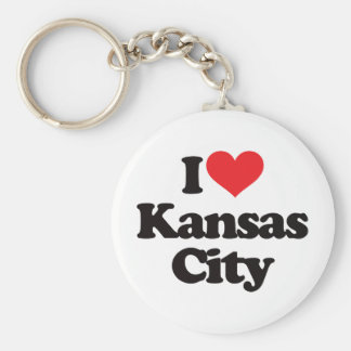 I Love Kansas City Basic Round Button Keychain