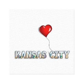 I Love Kansas City with KC Skyline Inside Letters Canvas Print