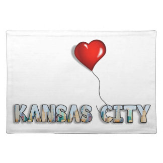 I Love Kansas City with KC Skyline Inside Letters Placemat