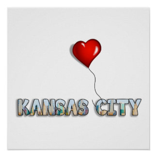 I Love Kansas City with KC Skyline Inside Letters Poster