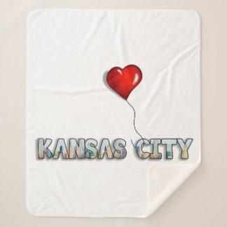 I Love Kansas City with KC Skyline Inside Letters Sherpa Blanket