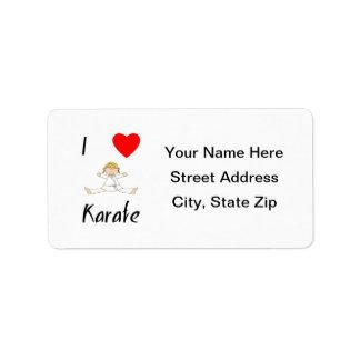 I Love Karate Personalized Address Label