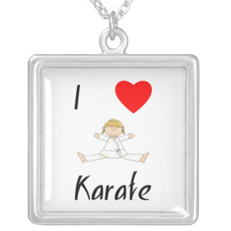 I Love Karate Silver Plated Necklace