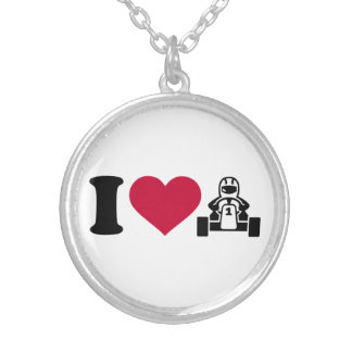 I love Kart racing Silver Plated Necklace
