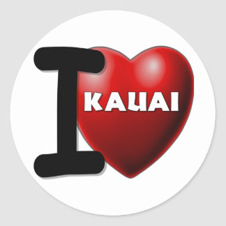 I Love Kauai, Hawaii Classic Round Sticker