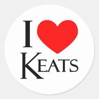 I Love Keats Classic Round Sticker
