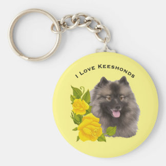 I Love Keeshonds with Yellow Roses Keychain
