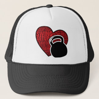 I LOVE KETTLEBELL DESIGN TRUCKER HAT