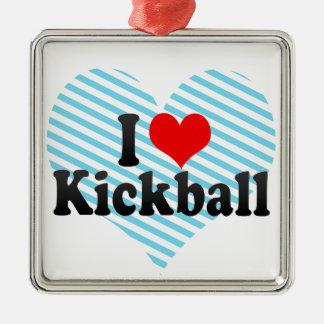 I Love Kickball Metal Ornament