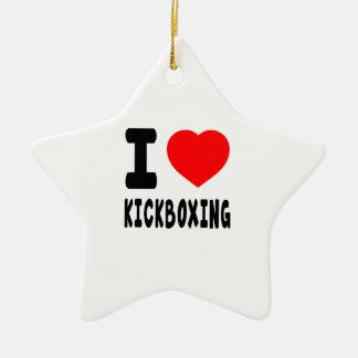 I Love kickboxing Ceramic Ornament
